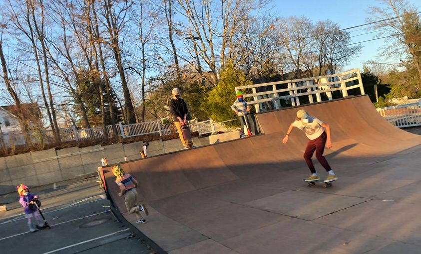 skate park masks and mixed ages