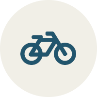 blue icon of a bike