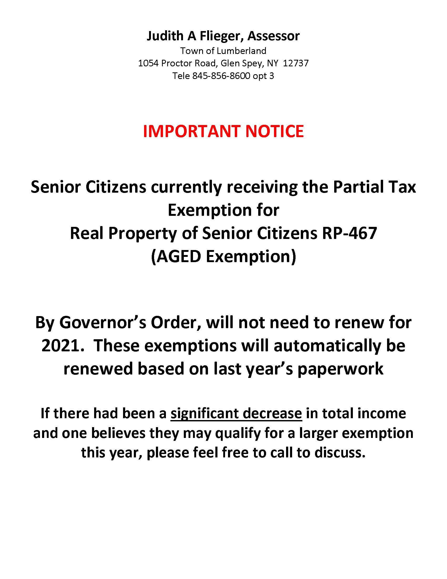 Governors Mandatory Senior Citizen Exemption Renewal