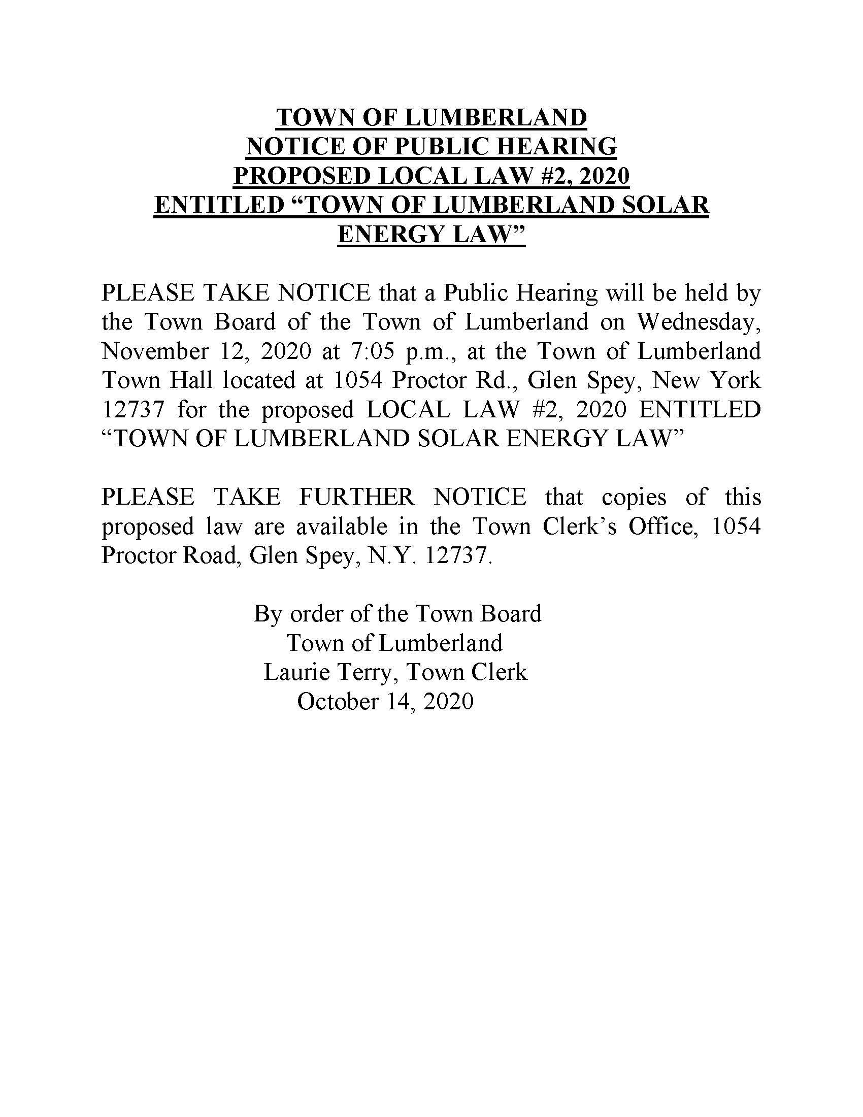 Legal Notice Public Hearing Local Law 2 of 2020