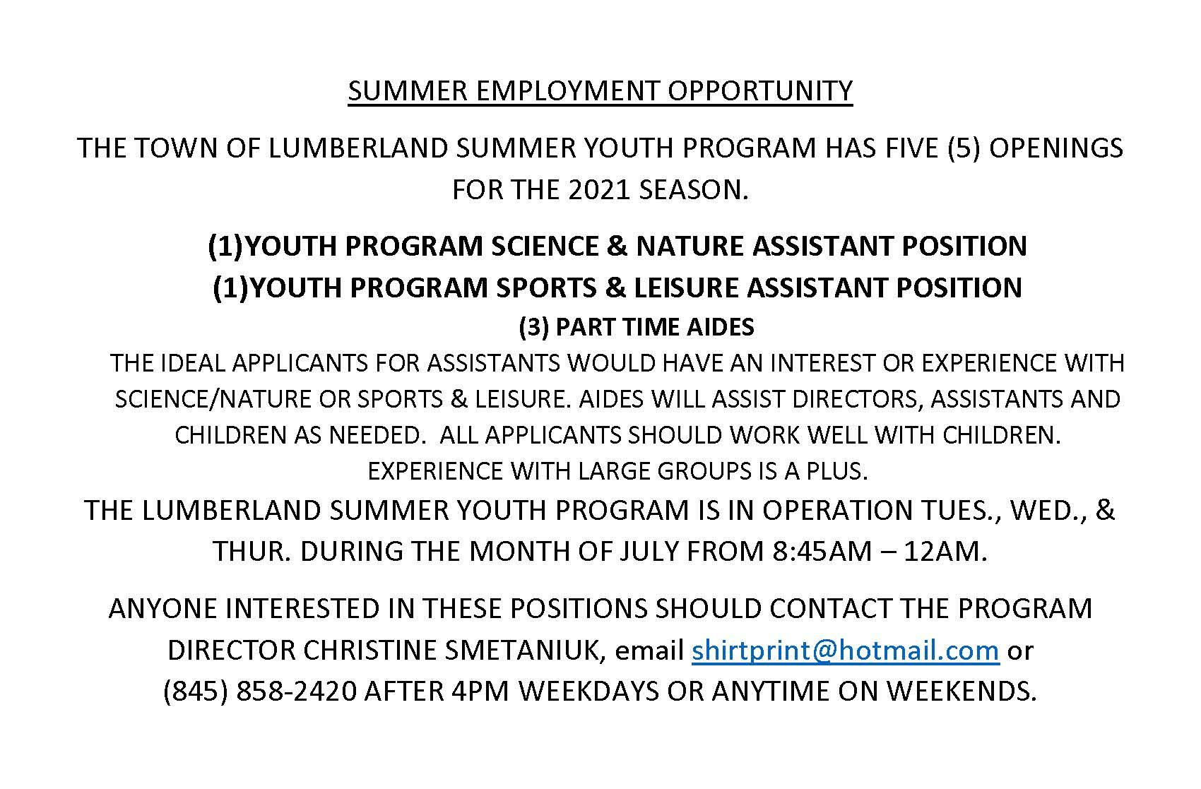 SUMMER EMPLOYMENT OPPORTUNITY (1) - Copy