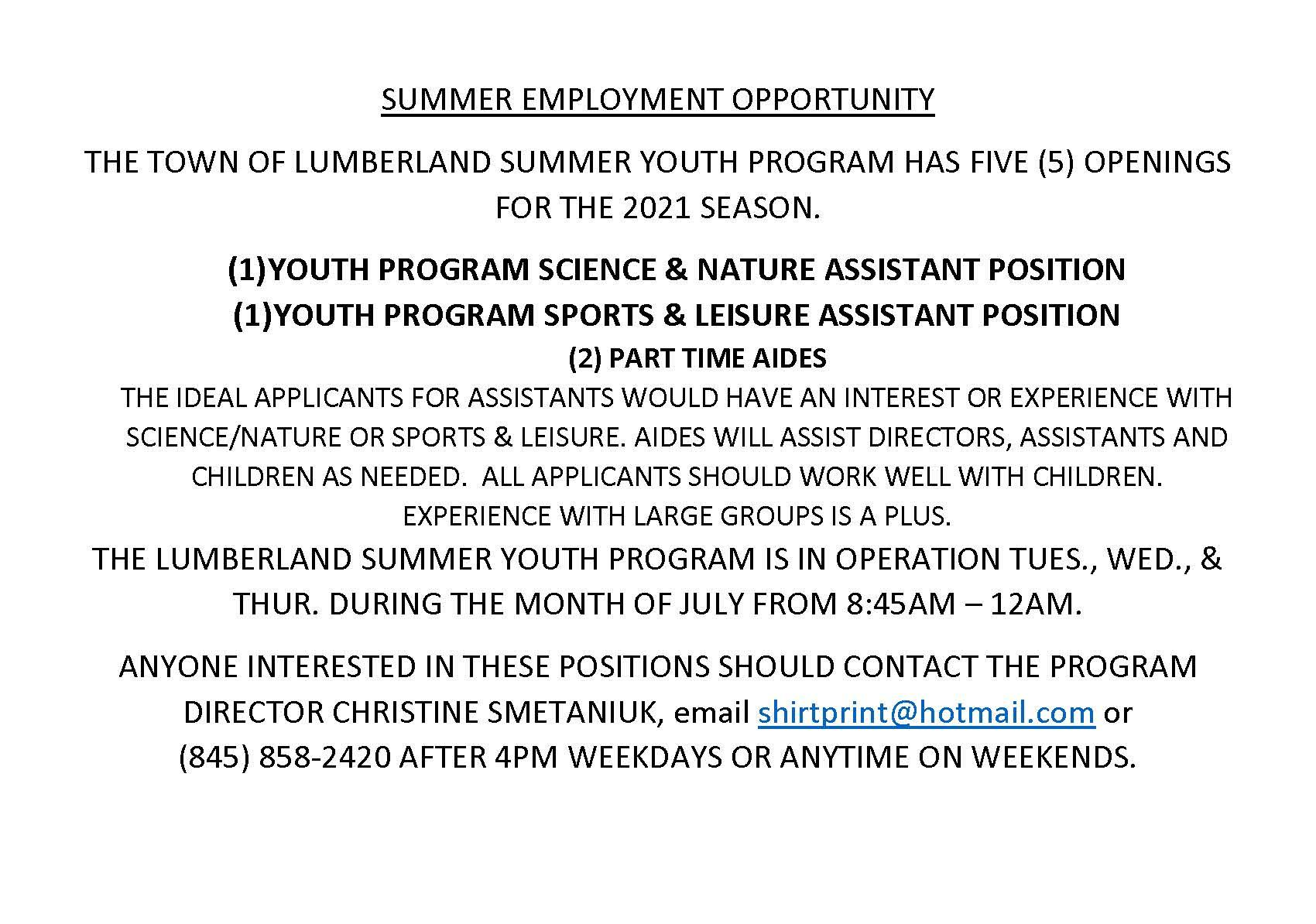 SUMMER EMPLOYMENT OPPORTUNITY - Copy