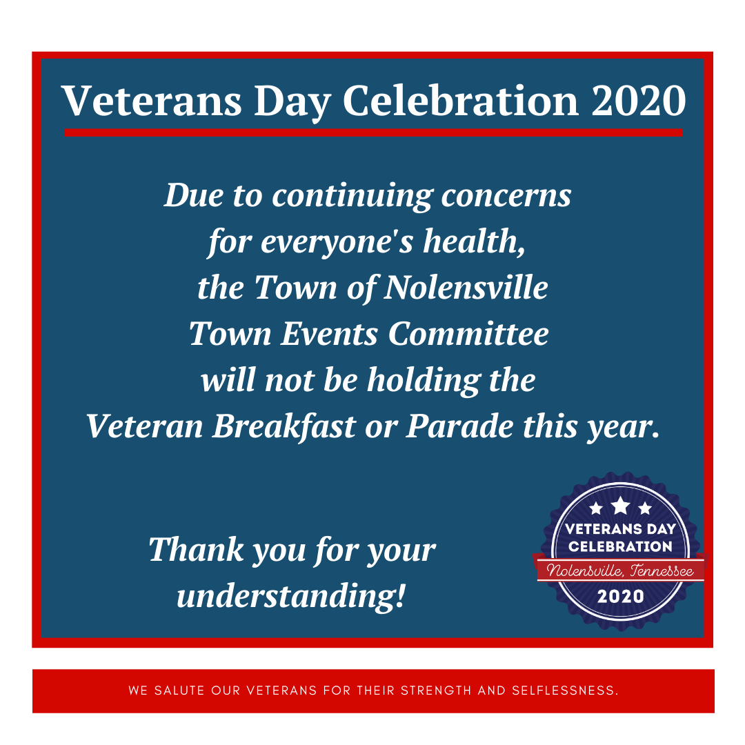 Veterans Day Breakfast and Parade Cancelled